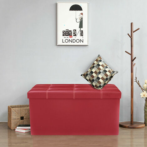 Faux Leather Ottoman Pouffe Storage Toy Box Foot Stools 2 Seater Bench Seat Red