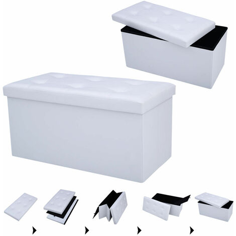 Faux Leather Ottoman Pouffe Storage Toy Box Foot StoolS 2 Seater Bench Seat White
