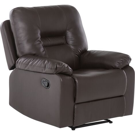 Faux Leather Recliner Chair Brown BERGEN