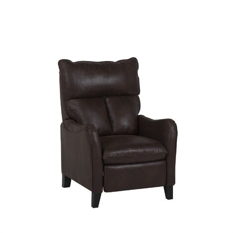 Faux Leather Recliner Chair Brown ROYSTON