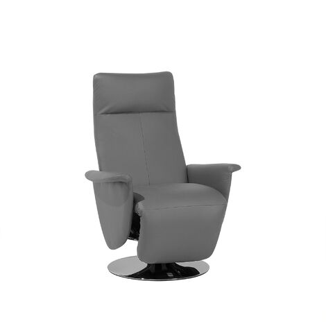 Faux Leather Recliner Chair Grey PRIME
