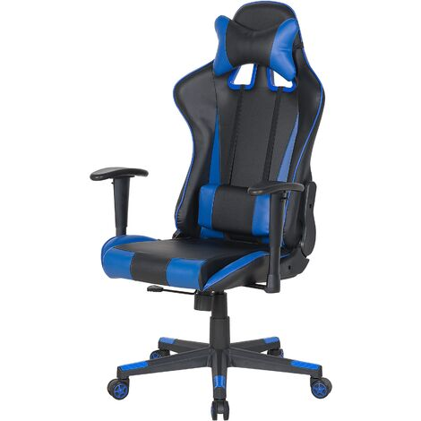 Faux Leather Reclining Office Chair Black with Blue GAMER