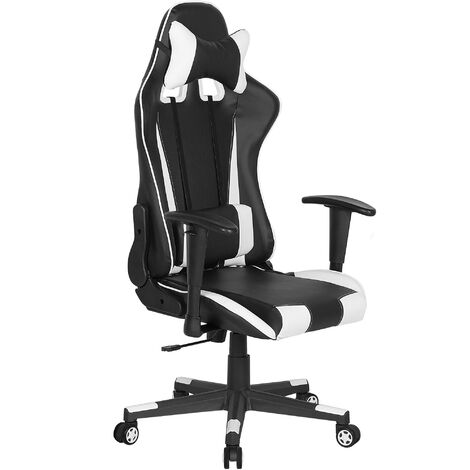 Faux Leather Reclining Office Chair Black with White GAMER