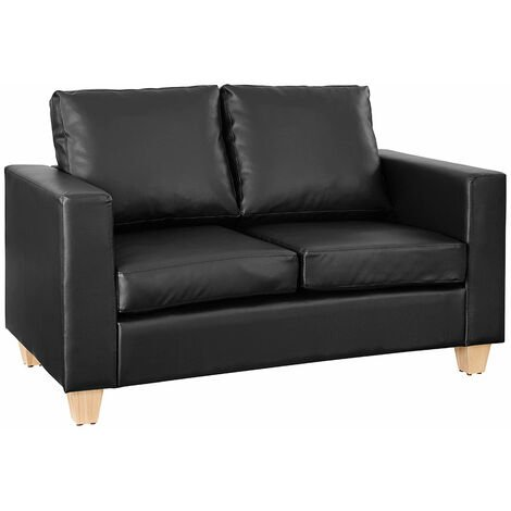 """main image of """"Faux Leather Sofa 2 Seater Cushioned Settee Modern Living Home Couch, Black"""""""