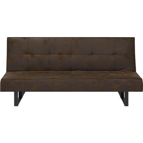 Faux Leather Sofa Bed Brown DERBY Small