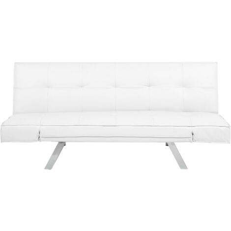 Faux Leather Sofa Bed White BRISTOL