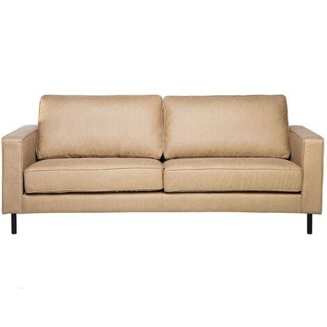 Faux Leather Sofa Beige SAVALEN