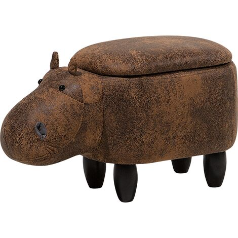 Faux Leather Storage Animal Stool Brown HIPPO