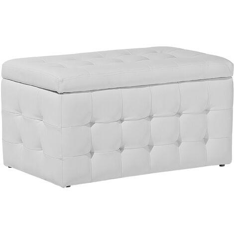Faux Leather Storage Ottoman White MICHIGAN