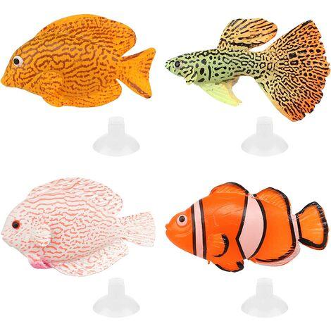 Faux Poisson en Sipcone 4 Pcs Artificiel Poisson pour Fish Tank Faux Poissons Tropicaux Faux Poissons Décoratifs pour Aquarium Fish Tank Décoration Ornements avec 4 Ventouses (4 Modèles)