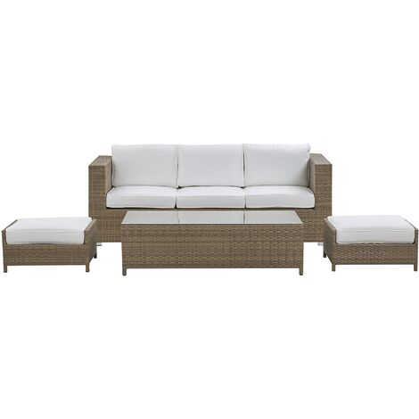 """main image of """"Faux Rattan 3 Seater Outdoor Sofa Set Brown Table 2 Ottomans White Cushions Belluno"""""""