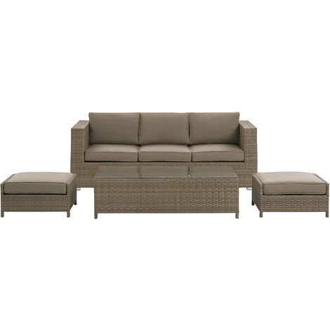 """main image of """"Faux Rattan 3 Seater Outdoor Sofa Set Brown Table 2 Ottomans with Cushions Belluno"""""""