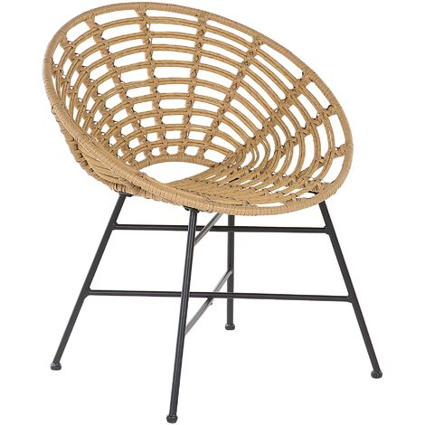 Faux Rattan Accent Chair Light Brown ACERRA