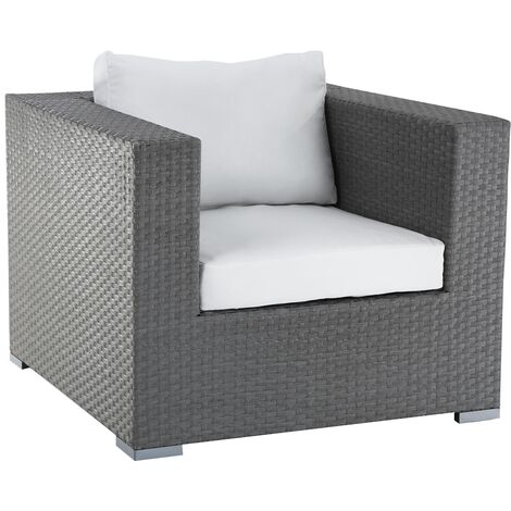 Faux Rattan Garden Armchair Grey and White MAESTRO