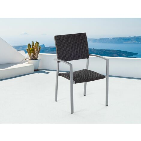 Faux Rattan Garden Chair Brown TORINO