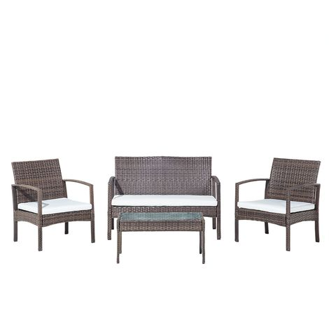 Faux Rattan Garden Sofa Set Brown and White MARSALA