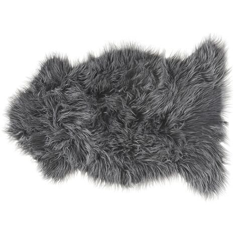 Faux Sheepskin Area Rug Artificial Fur Throw Cover Fluffy Soft Decor Grey Mungo