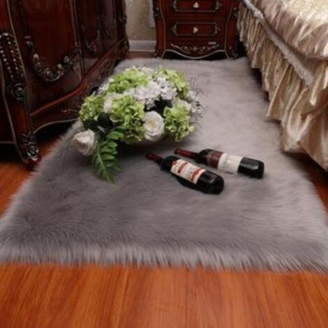 Faux Sheepskin Wool Soft Rug Long Hair Decorative Chair Cushion Sofa Mat 60 * 150cm Gray Hasaki