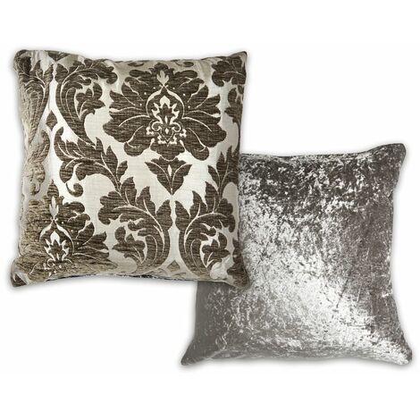 "Faux Velvet Damask Cushion Cover 17x17"" Charcoal Reversible Soft"