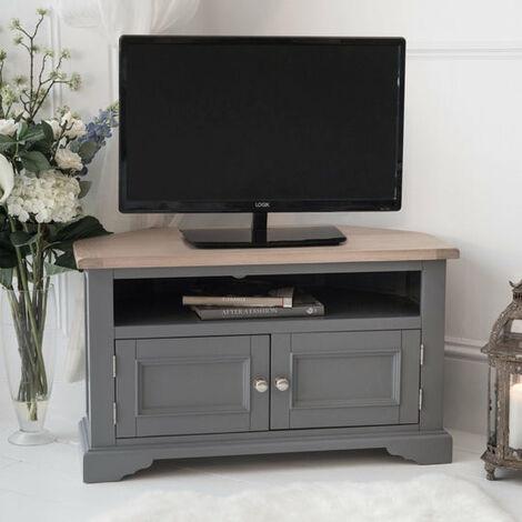 Faversham Corner TV Cabinet In Dove Grey