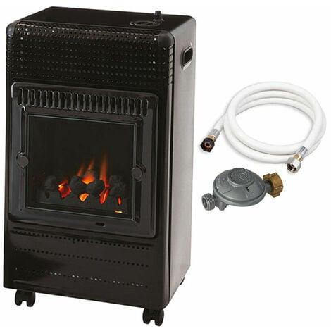 """main image of """"Favex - Chauffage d'appoint à gaz Ektor Fire - Prêt à l'emploi livré avec tuyau et détendeur - Intérieur - Brûleur Inox Infra Bleu effet feu de cheminée - 3 Puissances de Chauffe -jusqu'à 35 m² - Noir"""""""