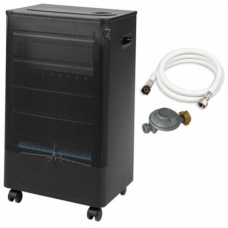 """main image of """"Favex - Chauffage d'appoint à gaz Praha Blue Flame - Prêt à l'emploi livré avec tuyau et détendeur - Intérieur - Brûleur Inox Infrableu - 3 Puissances de chauffe -jusqu'à 35 m² - Noir"""""""