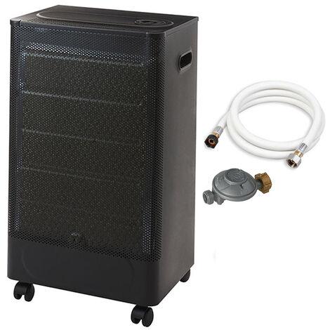 Favex - Chauffage d'appoint à gaz Riga Catalyse - Prêt à l'emploi livré avec tuyau et détendeur - Intérieur - Brûleur Céramique Catalyse - 3 Puissances de Chauffe -jusqu'à 30 m² - Noir