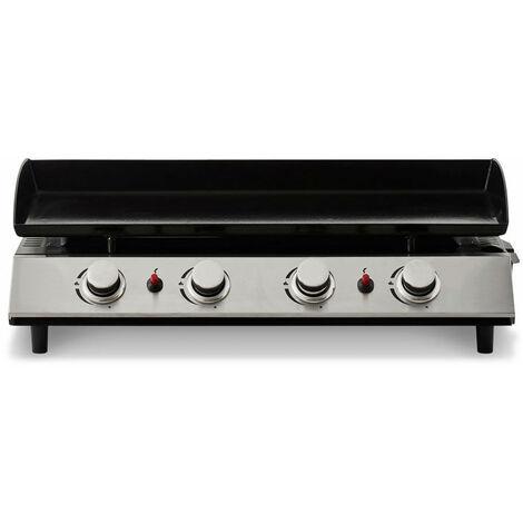 FAVEX - Plancha Bahia 4 feux Cooking Box - Surface cuisson 80 x 36 cm - 4 brûleurs ronds Inox - Plaque acier émaillée - Piezo mécanique - Récupérateur de graisse - Jusqu'à 10/12 convives - 10 kW