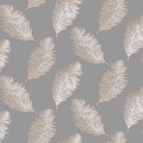 Fawning Feather Grey Rose Gold Metallic Shimmer Wallpaper Feature Holden Decor