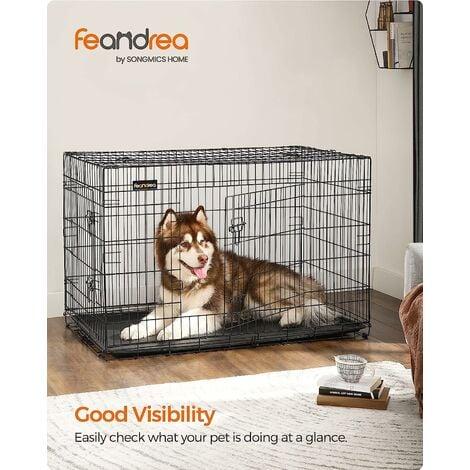 FEANDREA 2 Portes Cage Pour Chien - Pliable et Transportable - avec Poignée et Plateau XXL: 122 x 76 x 81cm, Noir, par SONGMICS PPD48H