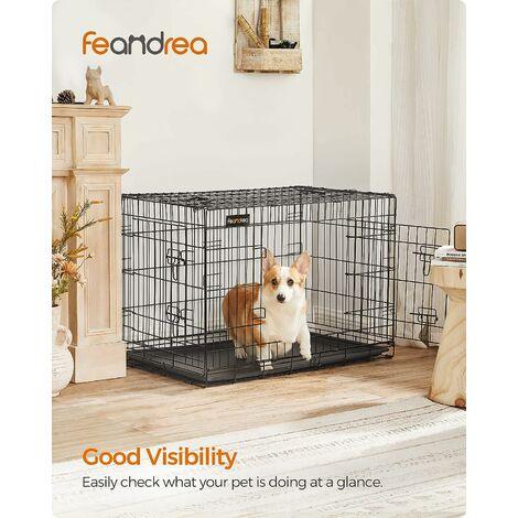 FEANDREA 2 Portes Cage pour chien pliable et transportable avec Poignées et Plateau 91 x 58 x 64cm par SONGMICS PPD36H