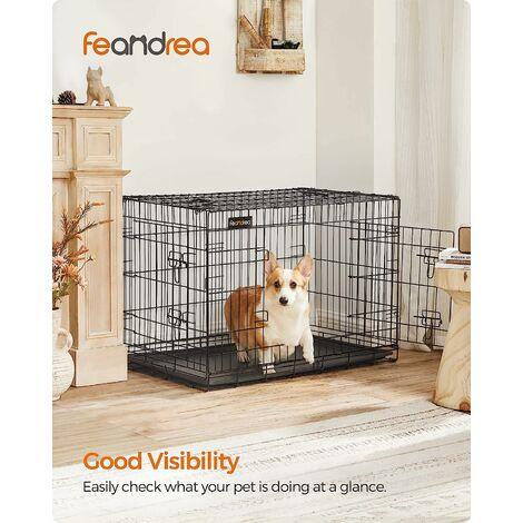 """main image of """"FEANDREA 2 Portes Cage pour chien pliable et transportable avec Poignées et Plateau 91 x 58 x 64cm par SONGMICS PPD36H - Noir"""""""