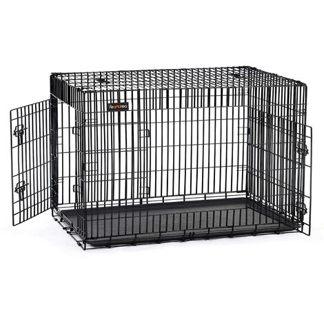 """FEANDREA 42"""" Dog Puppy Cage Foldable Metal Pet Carrier 2 Doors with Tray by SONGMICS Black/Silvery white"""