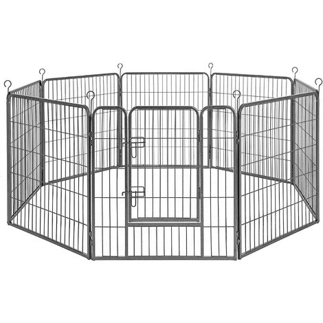 FEANDREA 8-Panel Pet Playpen, Iron Dog Cage, Heavy Duty Pet Fence, Puppy Whelping Pen, Foldable and Portable, 77 x 60 cm, Black/Grey