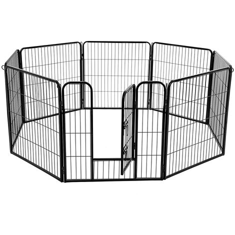 FEANDREA 8-Panel Pet Playpen, Iron Dog Cage, Heavy Duty Pet Fence, Puppy Whelping Pen, Foldable and Portable, 77 x 80 cm, Black/Grey
