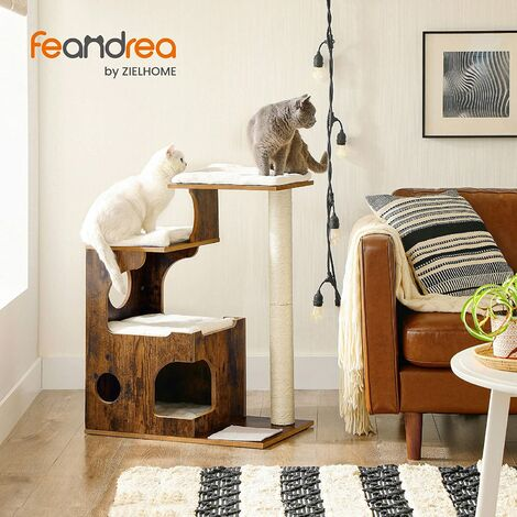 FEANDREA 88cm Cat Tree, Medium Cat Tower with 3 Beds and Cave, Cat Condo Made of MDF with Wood Veneer, Sisal Post and Washable Faux Fur, Vintage, Rustic Brown and White by SONGMICS PCT70HW - Vintage, Rustic Brown and White