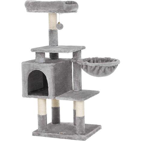 FEANDREA Árbol para Gatos de Varios Niveles, Torre de 110cm, Gris Claro por SONGMICS PCT52W