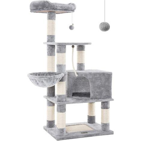FEANDREA Árbol para gatos Rascador alto para gatos con Bola de juego Cesta flotante Caseta Postes cubiertos de sisal Gris claro por SONGMICS PCT60H