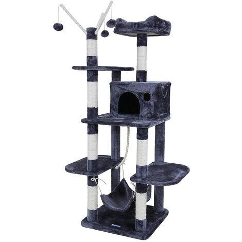 FEANDREA Árbol para gatos Rascador con nidos hamaca plataformas bolas de juego 154cm colores opcionales Antracita por SONGMICS PCT86G