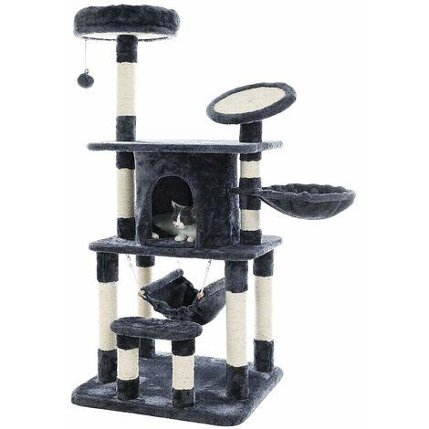 FEANDREA Arbre à chat Hauteur de 145cm multi niveaux panneau supérieur rond en sisal avec rebord tronc pour aiguiser les griffes niche luxueuse pour chats salle de jeux Grise par SONGMICS PCT25G