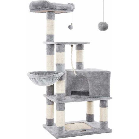 FEANDREA Arbre à chat Hauteur de 148cm avec griffoir Multi niveaux Niche Panier suspendu Salle de jeux Grise claire par SONGMICS PCT60H