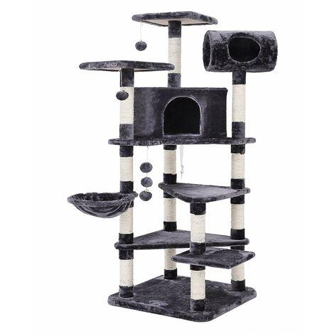 FEANDREA Arbre à chat Hauteur de 165cm tronc pour aiguiser les griffes grande dimension niche luxueuse pour chats salle de jeux multi niveaux Gris par SONGMICS PCT17G