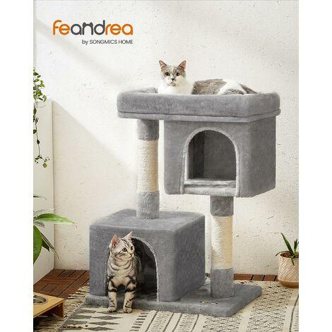 FEANDREA Arbre à chat Hauteur de 84cm Colonne en sisal Pour aiguiser les griffes 2 niches luxueuses Maison de jeu Meubles pour chatons, chats et félins Grise claire, par Songmics, PCT61W