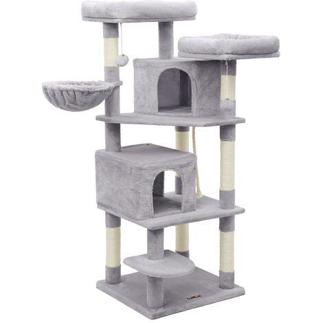 FEANDREA Arbre à chat multiple, Tour de jeux 150cm, Gris anthracite/Gris clair