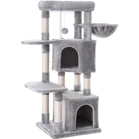 FEANDREA Arbre à chat tout doux, Tour de jeux 120 cm, Gris anthracite/Gris clair