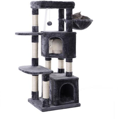 FEANDREA Cat Tree, Cat Condo, Activity Centre, 120 cm, Smoky Grey/Light Grey