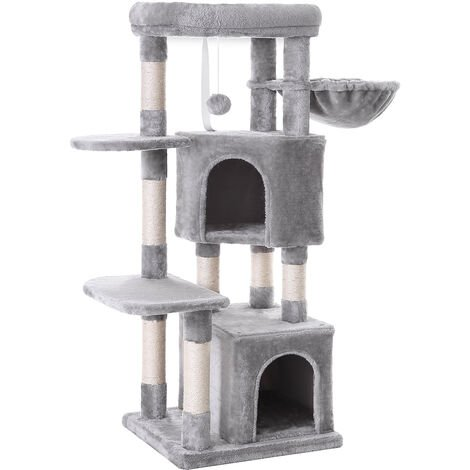 FEANDREA Cat Tree, Cat Condo, Activity Centre, 120 cm, Smoky Grey/Light Grey