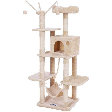 FEANDREA Cat Tree Cat Scratcher Activity Centres Scratching Post with a hammock Beige by SONGMICS PCT86M - Beige