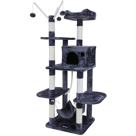 FEANDREA Cat Tree Cat Scratcher Activity Centres Scratching Post with a hammock Grey by SONGMICS PCT86G - Gray