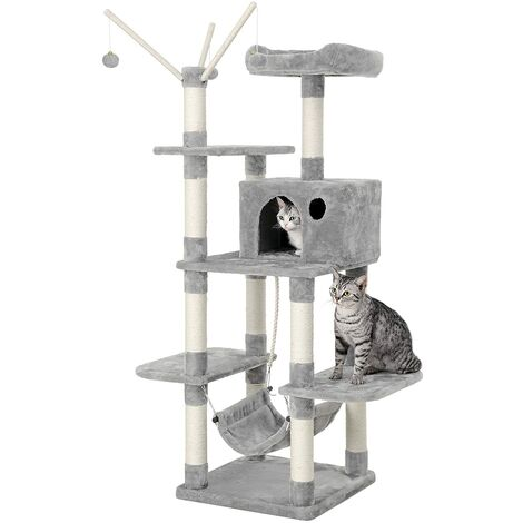 FEANDREA Cat Tree Cat Scratcher Activity Centres Scratching Post with a hammock Light grey by SONGMICS PCT86W - Light grey